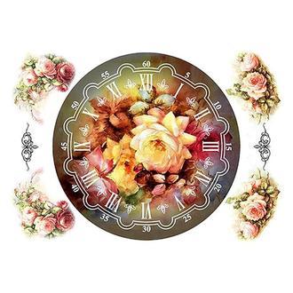 Бумага для декупажа 21х30 см, Циферблат с розами темный
