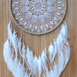 Большой ловец снов бохо, натуральный ловец снов белый.