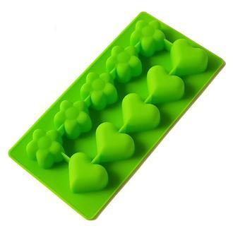 Силиконовая форма Цветочки и сердечки 10 шт.