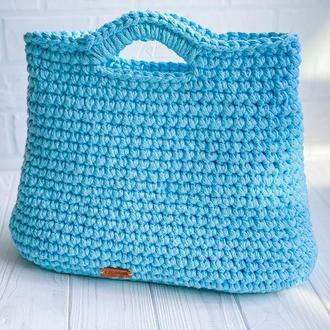 Вязаная сумка Тоут Голубой