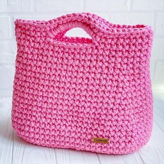 Вязаная сумка Тоут Розовая