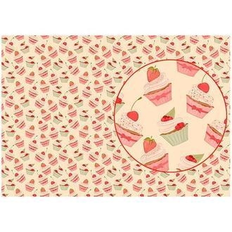 Бумага для декупажа 21х30 см Фон кексики с ягодами