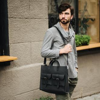 Классическая мужская кожаная сумка, из натуральной кожи черного цвета. Мужская сумка для работы