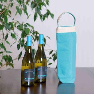 Шоппер для вина бирюзового цвета. Эко-сумка.
