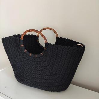 Вязаная черная  Сумка Шоппер Пляжная сумка с удобной ручкой