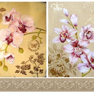 Бумага для декупажа 21х30 см Две орхидеи