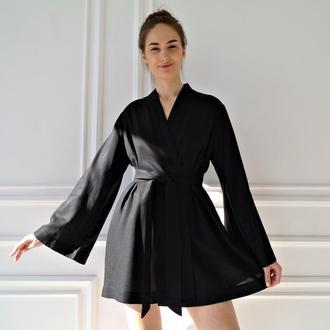 Чёрный халат из натурального льна