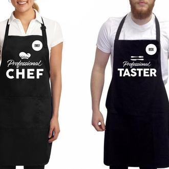 """ФА000278 Парні фартухи з принтом """"Chef. Taster"""""""