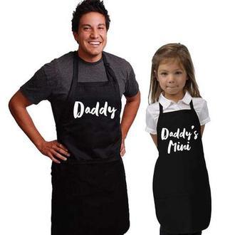 """ФА000285 Парні фартухи з принтом """"Daddy. Daddy's mini"""""""