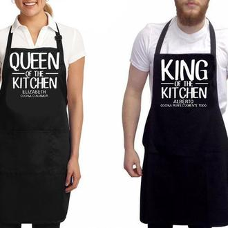 """ФА000287Парные фартуки с принтом """"Queen of the kitchen. King of the kitchen"""""""