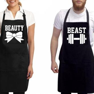 """ФА000289 Парні фартухи з принтом """"Beauty. Beast"""""""