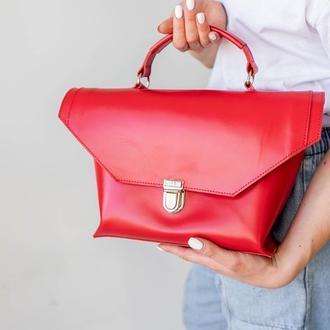 Красная сумка-трапеция из натуральной кожи, стильная кожаная сумка