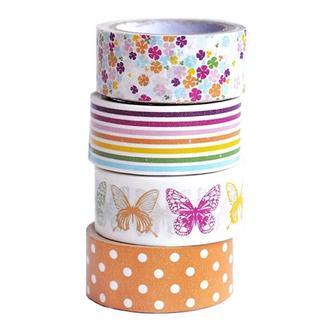"""Набор бумажных скотчей 15 мм х 5 м """"Бабочки"""", 4 шт. Heyda"""