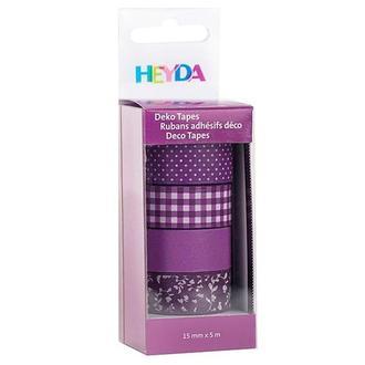 Набор бумажных скотчей 15 мм х 5 м, Фиолетовый 4 шт