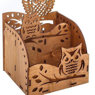 """Коробка органайзер """"Сови"""" для канцелярських дрібниць 13.4х14.6х14 див."""