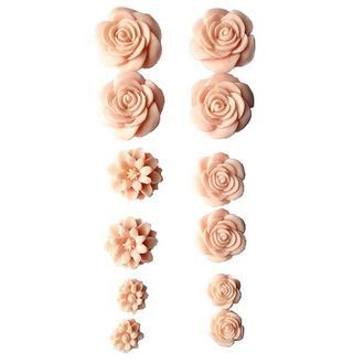 Набор пластиковых розочек 12 шт. самоклеющиеся, нежно-розовые 10-23 мм