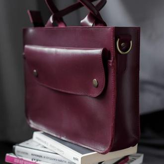Классическая кожаная сумка среднего размера из глянцевой бордовой кожи
