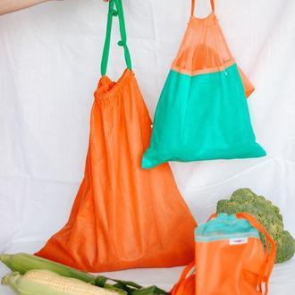 Мешочек для грязных овощей, картофеля, многоразовый оранжевый мешочек L, Morkwa