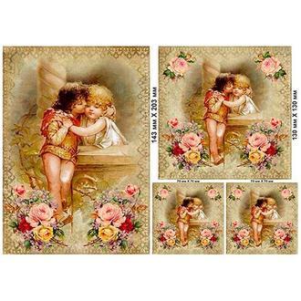 Бумага для декупажа 21х30 см, Ангелы с розами