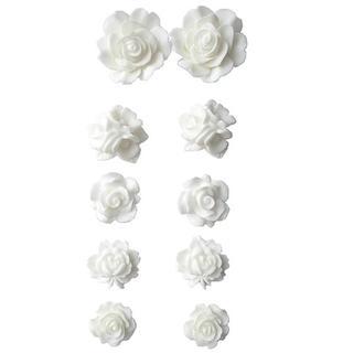 Набор пластиковых розочек 10 шт. самоклеющиеся, белые 15-22 мм