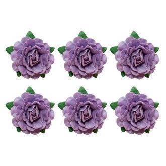 Цветочки бумажные розы 6 шт, фиолетовые