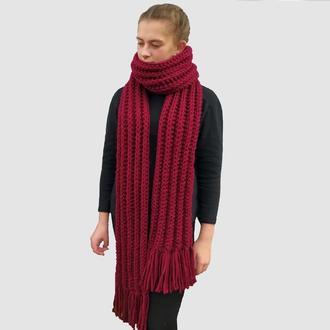Шарф вязаный длинный. Женский бордовый шарф. Теплый мужской шарф. Шарф грубой вязки. Подарок.