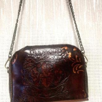 Кожаный клатч с деревянным дном кожа мягкая фурнитура антик