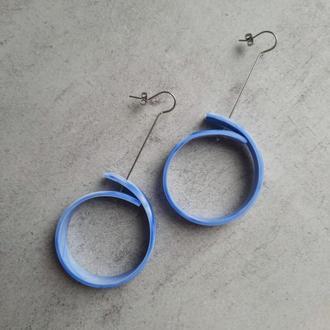 Небесно голубые серьги-кольца. Серьги-трансформеры. Длинные серьги.