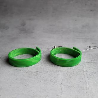 Стильные зеленые серьги-кольца. Серьги-трансформеры. Длинные серьги.