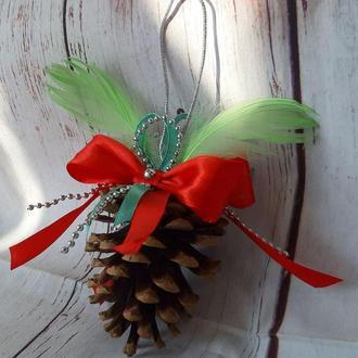 Новогодняя  игрушка Шишка 8-10см в стиле ЭКО на елку