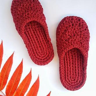 Тапочки. Домашние тапочки. Вязанная обувь