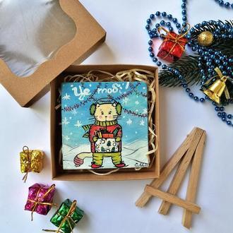 Миниатюра маслом котик, Картина с котом, Картина на подарок, Маленькая картина маслом