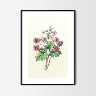 Графический постер Цветы акварель