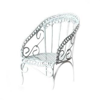 Кресло садовое мини металлическое, белое 5х5х7см