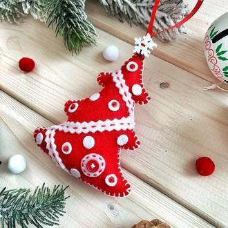 """Новогодняя игрушка """"Ёлочка красная"""""""