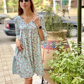 Ментоловое платье мини в цветочек