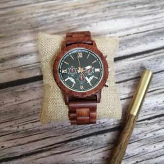 Наручные деревянные часы с хронографом Sportmen