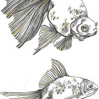 Золотые рыбки. 2шт. Формат А4, ручная работа, 2018г Автор - Мишарева Наталья