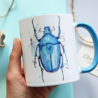 """Чашка с жуком """"Возьми лето в руку"""""""