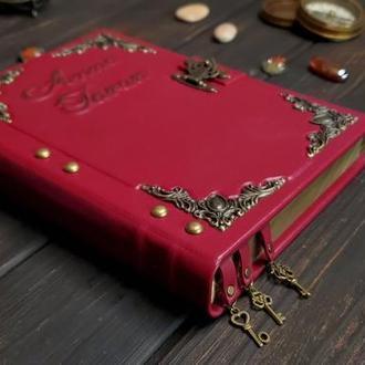 Именной кожаный блокнот на замочке. Женский кожаный блокнот. Розовый блокнот