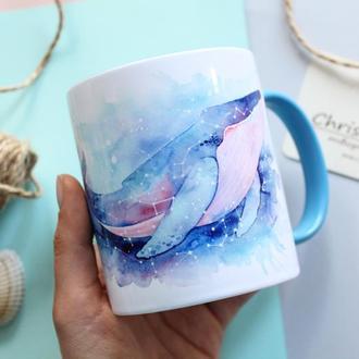 """Чашка с  китом """"Лучшее путешествие то, которое не заканчивается"""""""
