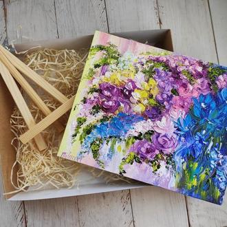 Подарочный набор, картина цветы, подарок подружке