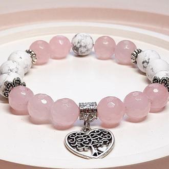Браслет из натуральных камней, браслет из розового кварца, браслет из кахолонга, браслет с подвеской