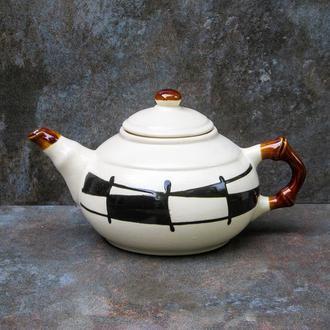"""Чайник 600 мл., декор """"Галаретка"""" чорно-білий"""