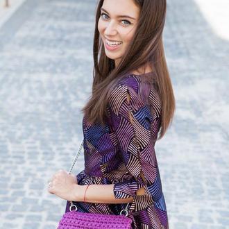 Фиолетовая(сливовая) вязаная сумка