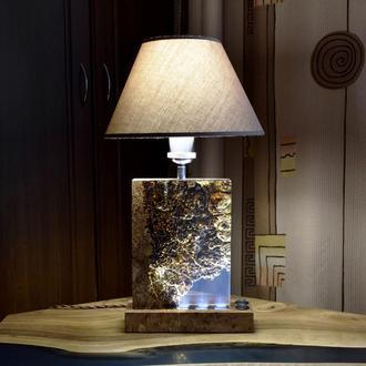 Светильник ночник 2в1 из дерева и эпоксидной смолы, Прикроватная лампа