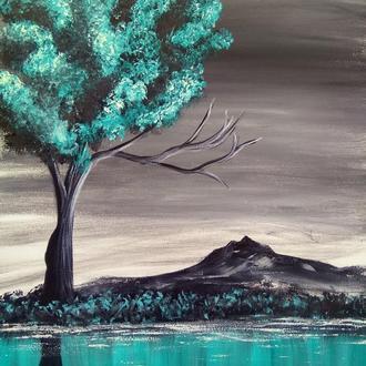 Синий пейзаж (картина масло/холст)