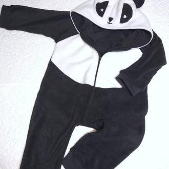 Ромпер Панда, теплая пижама для мальчика, для девочки, домашняя детская одежда