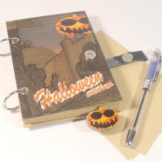 """Блокнот из дерева """"Хеллоуин"""""""