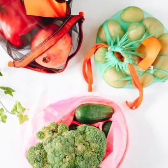 Эко-мешочки для покупок, для фруктов, овощей из сетки на завязку Киев Львов экопакеты поштучно.